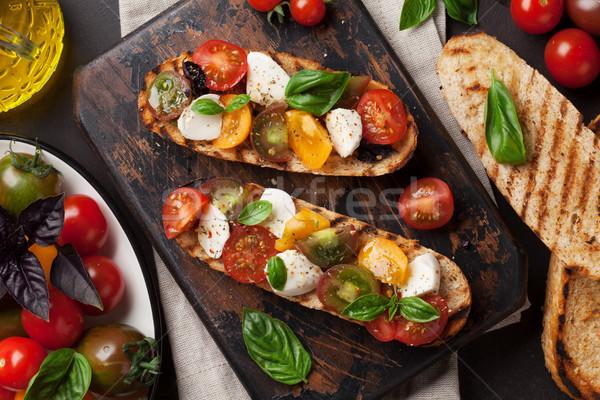 брускетта помидоров моцарелла базилик помидоры черри Сток-фото © karandaev