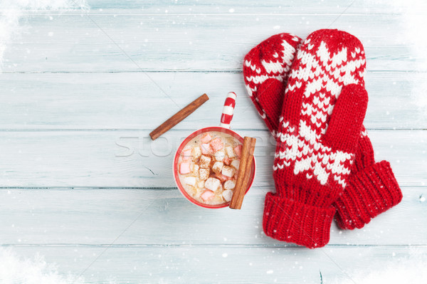 Mittens and hot chocolate with marshmallow Stock photo © karandaev