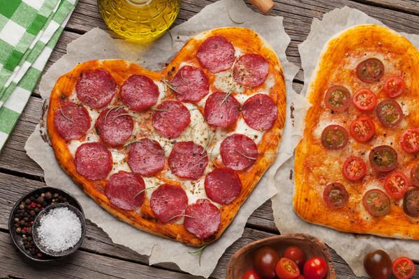 中心 ピザ ペパロニ トマト ストックフォト © karandaev