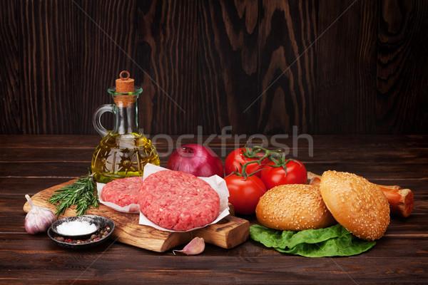 Tasty grilled home made burger cooking Stock photo © karandaev
