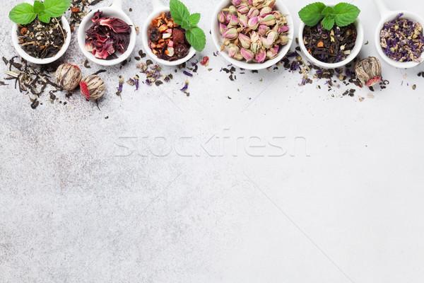 Stok fotoğraf: çay · siyah · yeşil · kırmızı · üst
