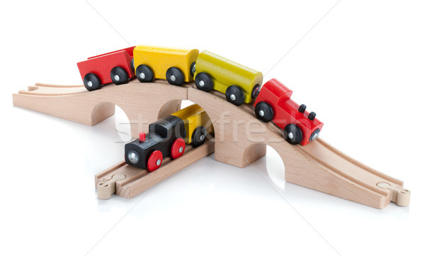 ストックフォト: 木製玩具 · 列車 · 孤立した · 白 · 赤ちゃん · 道路