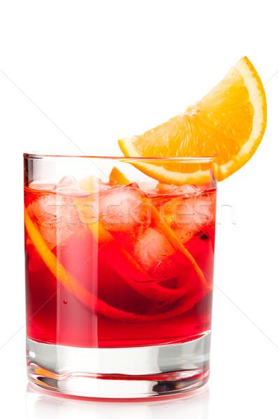 Alkoholu koktajl kolekcja pomarańczowy plasterka odizolowany biały Zdjęcia stock © karandaev