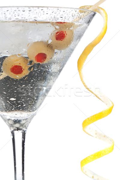 Koktél gyűjtemény klasszikus martini citrom dekoráció Stock fotó © karandaev