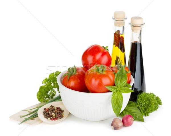 Rijp groenten kruiden olijfolie azijn geïsoleerd Stockfoto © karandaev