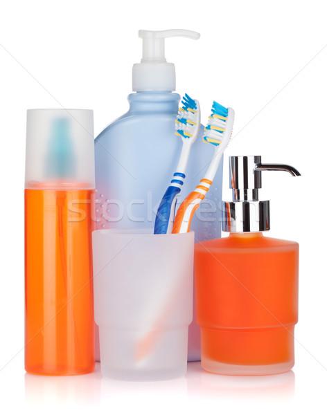 Cosméticos botellas líquido jabón aislado blanco Foto stock © karandaev