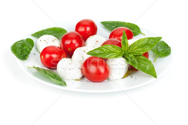 салат Капрезе изолированный белый продовольствие лист фон Сток-фото © karandaev