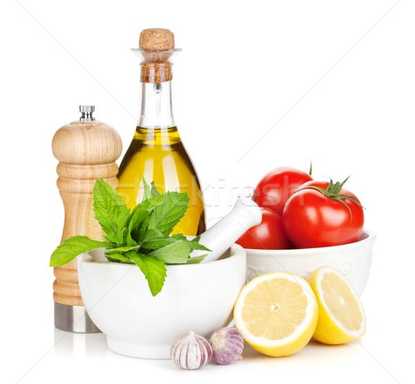 Friss érett zöldségek fűszerek konyha kellékek Stock fotó © karandaev