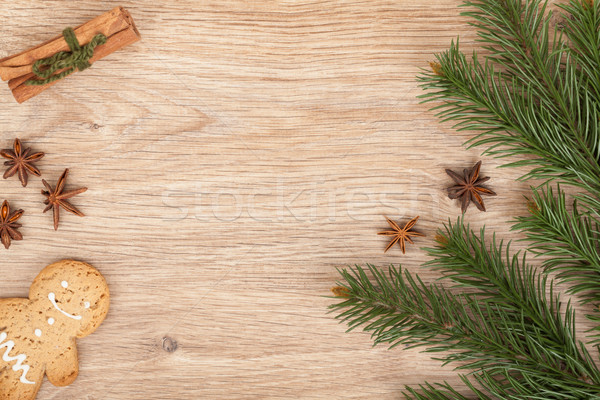 Christmas fir tree, gingerbread cookie and spices Stock photo © karandaev