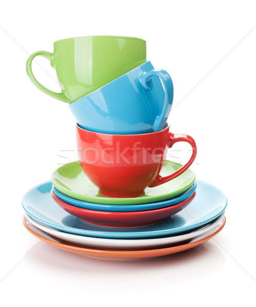 Colorful cups and saucers Stock photo © karandaev