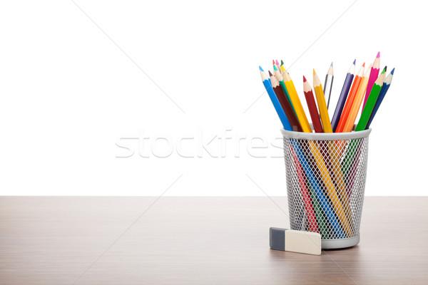 красочный карандашей Eraser деревянный стол служба работу Сток-фото © karandaev