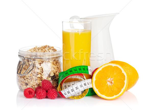 Café da manhã muesli suco de laranja isolado branco Foto stock © karandaev