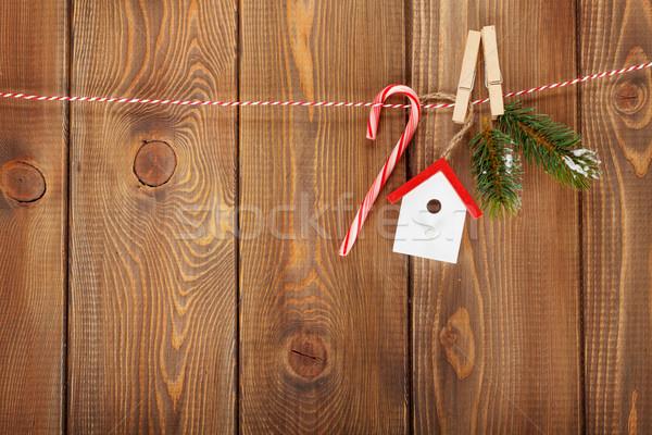 Neige Noël corde rustique Photo stock © karandaev