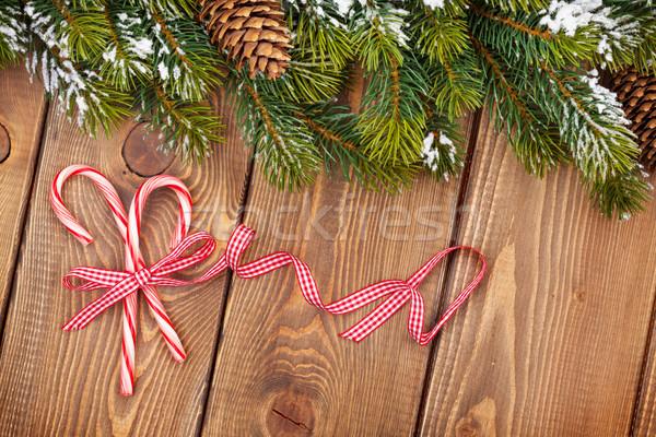 Noël neige bonbons bois arbre Photo stock © karandaev