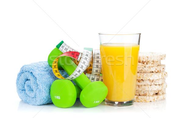 Iki yeşil şerit metre sağlıklı gıda uygunluk sağlık Stok fotoğraf © karandaev