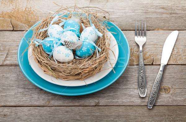 Easter eggs nido piatto legno alimentare Foto d'archivio © karandaev