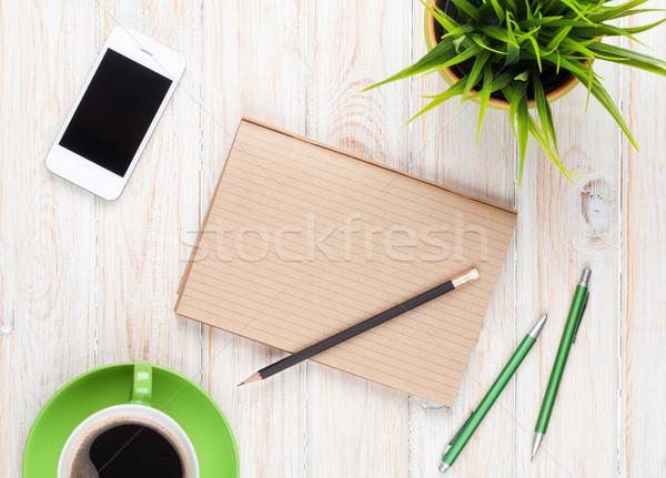 Stok fotoğraf: Tablo · kahve · fincanı · çiçek · üst