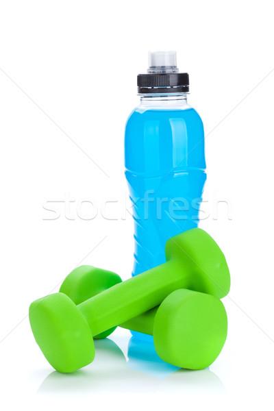 Twee groene veldfles fitness gezondheid geïsoleerd Stockfoto © karandaev
