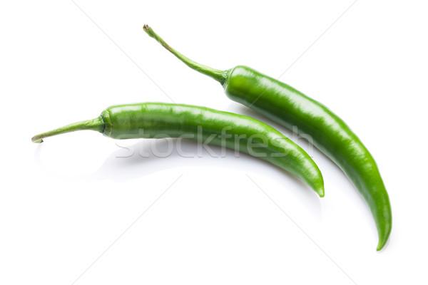 綠色 辣椒 孤立 白 食品 背景 商業照片 © karandaev