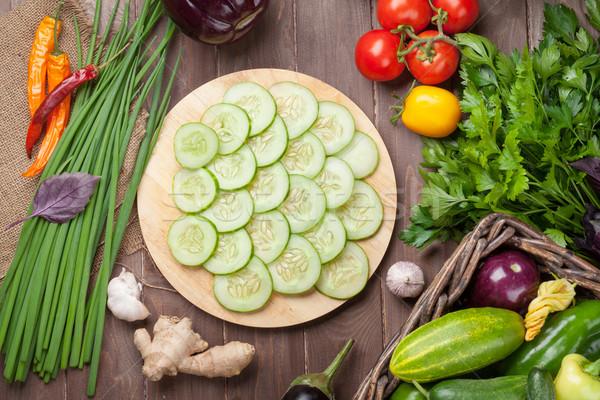 Stock fotó: Friss · gazdák · kert · zöldségek · gyógynövények · főzés