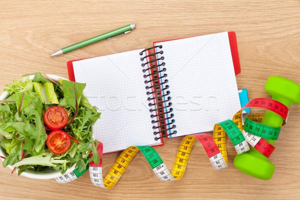 Nastro di misura cibo sano notepad copia spazio fitness salute Foto d'archivio © karandaev