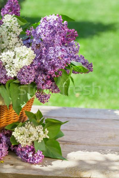Foto stock: Colorido · flores · cesta · jardim · tabela