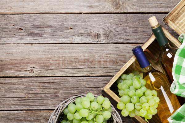 Witte wijn druiven houten tafel top exemplaar ruimte Stockfoto © karandaev