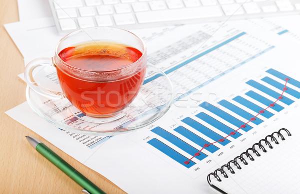 茶碗 現代の 職場 金融 論文 事務用品 ストックフォト © karandaev
