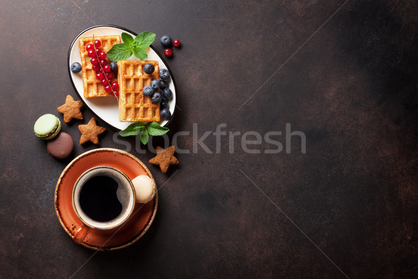 кофе конфеты Ягоды Top мнение копия пространства Сток-фото © karandaev