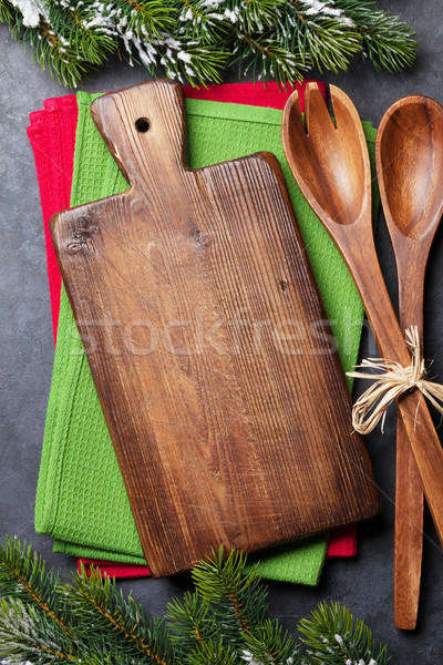 Christmas cooking table and utensils Stock photo © karandaev