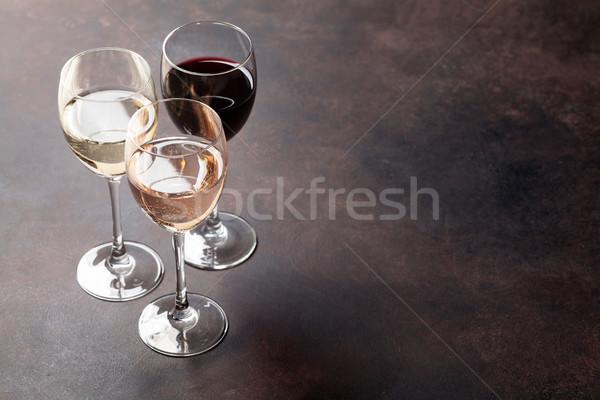 Бокалы каменные таблице пространстве вино фон Сток-фото © karandaev