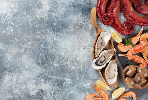 Foto d'archivio: Frutti · di · mare · polpo · aragosta · cottura · top