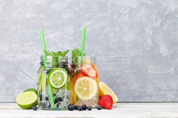Zdjęcia stock: świeże · lemoniada · jar · lata · owoce · jagody