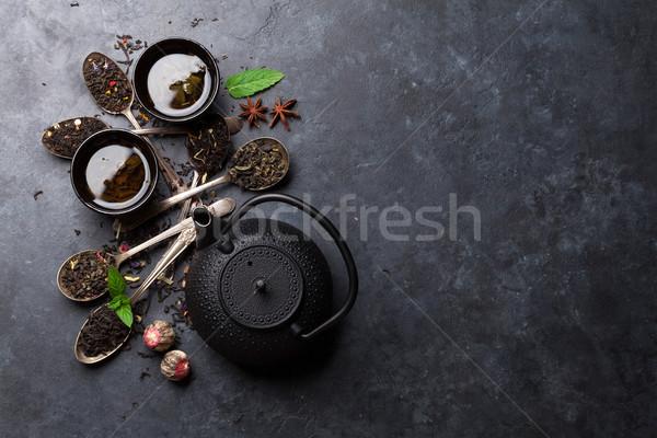 Különböző száraz tea edény kanalak teáskanna Stock fotó © karandaev