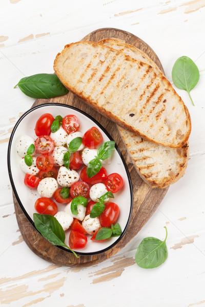 Stockfoto: Caprese · bruschetta · koken · kerstomaatjes · mozzarella · basilicum