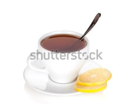 茶碗 レモン スライス 孤立した 白 ガラス ストックフォト © karandaev