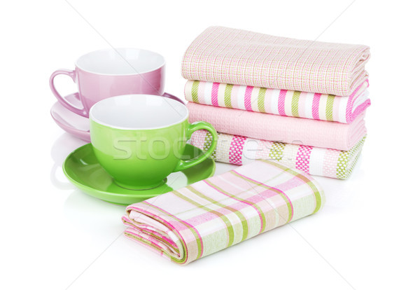 Stok fotoğraf: Mutfak · kahve · fincanları · yalıtılmış · beyaz · doku