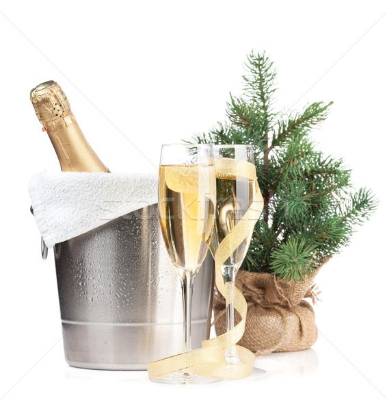 ストックフォト: シャンパン · ボトル · 氷 · バケット · 2 · 眼鏡