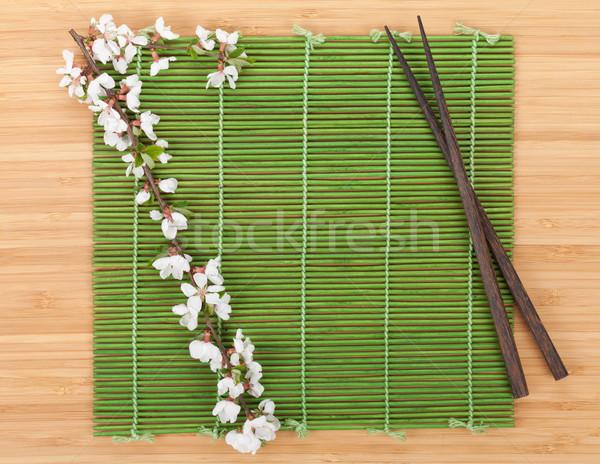 Sakura ramo bambu isolado branco Foto stock © karandaev
