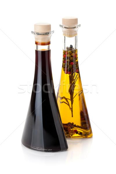 Olio d'oliva aceto bottiglie isolato bianco alimentare Foto d'archivio © karandaev