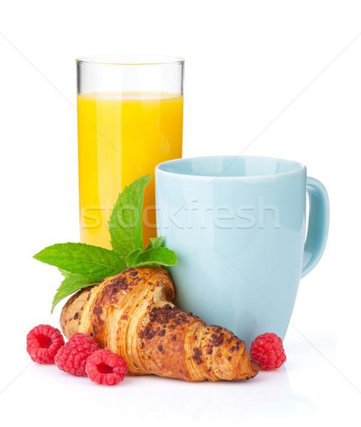 Cup caffè succo d'arancia fresche cornetto isolato Foto d'archivio © karandaev