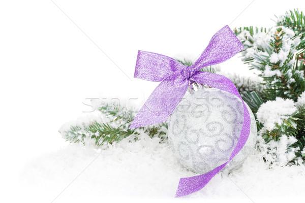 Christmas cacko fioletowy wstążka śniegu Zdjęcia stock © karandaev