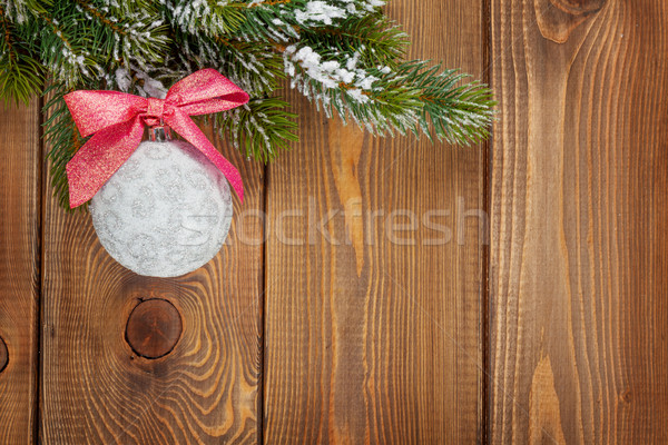 Christmas fir tree and bauble with red ribbon Stock photo © karandaev
