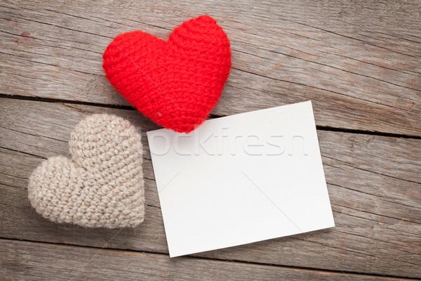 Photo frame biglietto d'auguri san valentino giocattolo cuori legno Foto d'archivio © karandaev