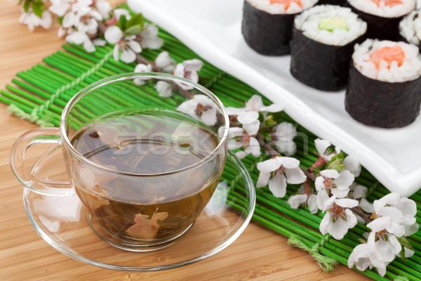 зеленый чай суши маки набор бамбук таблице Сток-фото © karandaev
