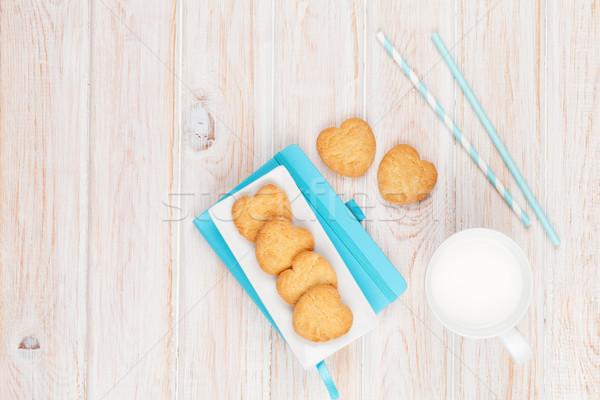 Кубок молоко сердце Cookies блокнот Сток-фото © karandaev