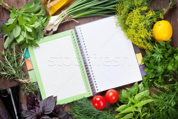 Fraîches jardin herbes notepad recettes table en bois Photo stock © karandaev