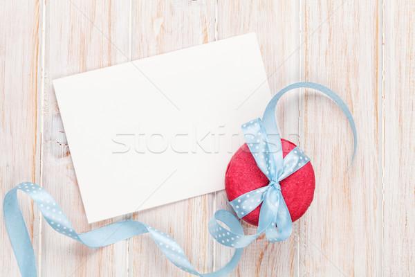 フォトフレーム グリーティングカード マカロン リボン 白 木製 ストックフォト © karandaev