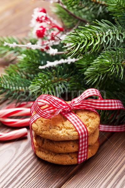 Stockfoto: Christmas · peperkoek · cookies · snoep · riet · boom