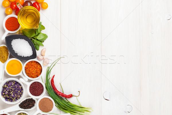 Various spices on white wooden background Stock photo © karandaev